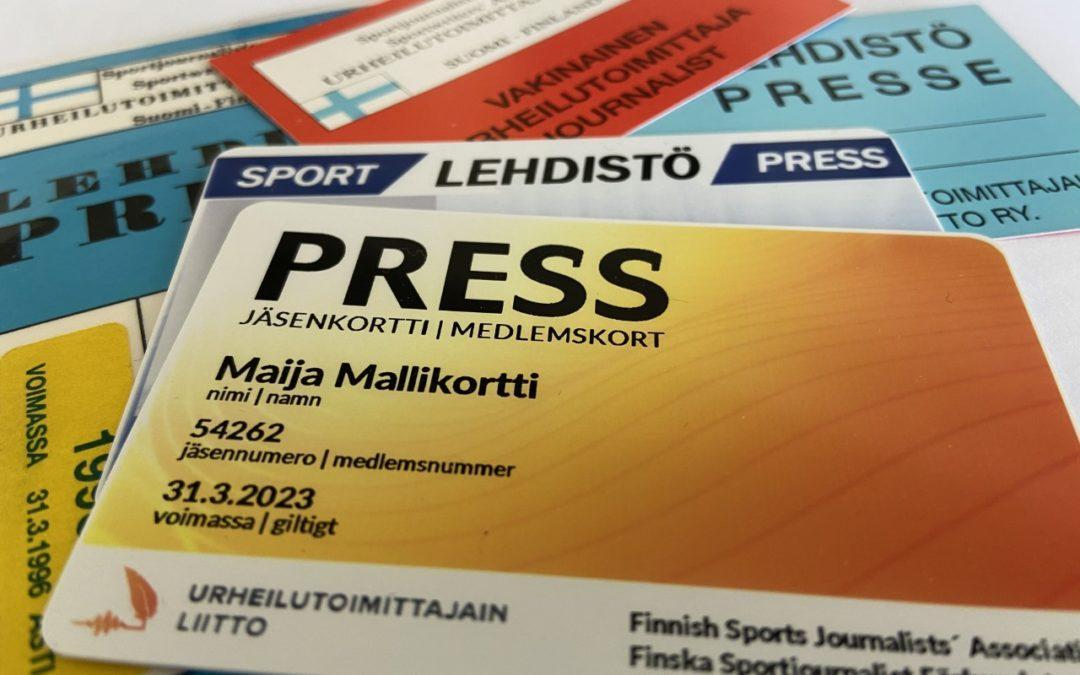 Urheilutoimittajain Liiton pressikortti uudistuu